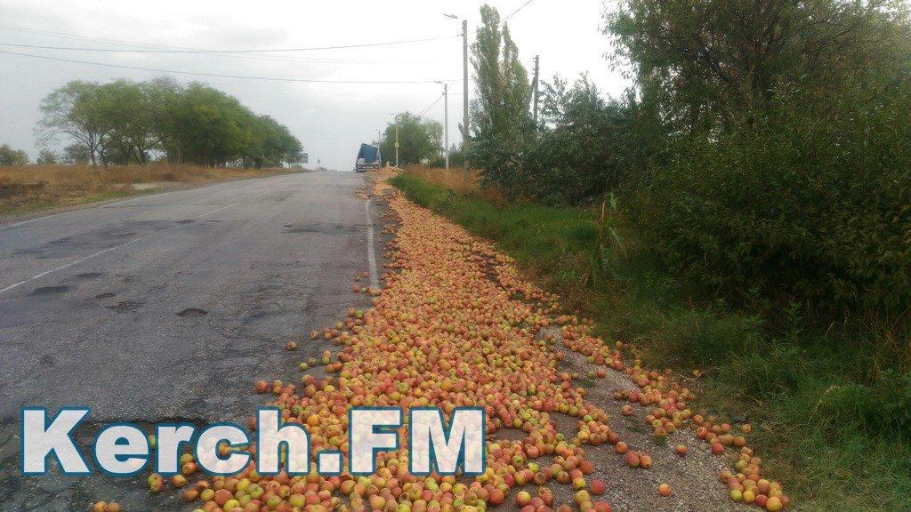 ВКерчи фура недовезла допереправы яблоки